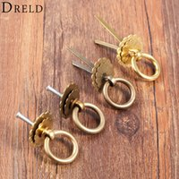 antike kupferkabinettknöpfe großhandel-DRELD 1pc Antique Brass Möbelgriffe Vintage Kupfer Runde Lotus Ring Knöpfe Kommode Schublade Schranktür Küchengriff Pull DRELD 1pc