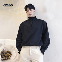 Wholesale front back collars resale online - Wear Front Back Shirt Men Retro Fashion Long Sleeve Casual Stand Collar Pullover Shirts Male Solid Loose Party Dress Shirts