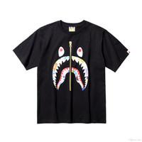 siyah tişörtlü hip hop toptan satış-2019 Yeni erkek Yuvarlak Boyun Karikatür Rahat Gevşek Siyah T-Shirt Genç Hip Hop Camo Rahat T-Shirt
