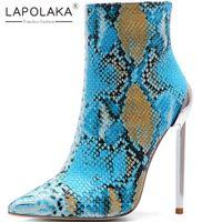 mulheres botas de escritório venda por atacado-Lapolaka New Arrivals 2019 Venda Quente Tamanho Grande 34-45 Zip Up Ankle Boots Sapatos de Mulher Sexy Salto Fino Sapatos de Escritório Mulher Botas