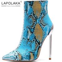 botas de oficina de mujer al por mayor-Lapolaka Nuevas llegadas 2019 Venta caliente de gran tamaño 34-45 Zip Up Botines de mujer Zapatos de tacón atractivo y delgado Zapatos de oficina Mujer Botas