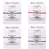 ingrosso braccialetti di modo migliori-New Fashion Best Friend Bracciale stile vintage placcato argento cuore braccialetti con braccialetti con carta per uomo donna