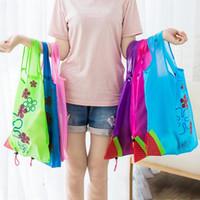 çanta kat tekrar kullanılabilir süpermarket toptan satış-Yeni tasarım kadınlar çilek alışveriş çantası süpermarket Taşınabilir çilek çantası katlama Kullanımlık el çantası ücretsiz kargo