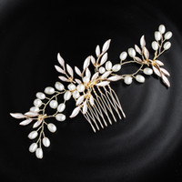 ingrosso pettini dei capelli di nozze del rhinestone-Bridal Hair Combs Bridesmaid Wedding Rose Gold Handmade Strass Pearl Hairband Accessori per capelli di lusso Copricapo Fascinators