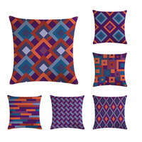 Wholesale purple home decor resale online - Geometric Cotton Linen Throw Pillow Case Purple Series Decorative Pillows For Sofa Seat Cushion Cover x45cm Home Decor ZY406