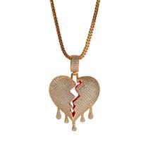 venta de cadenas para hombre al por mayor-Unisex Broken Heart Collares pendientes Rhinestone lleno Brillantes Rock Rock Rapper Collar Cadena de Tenis Mens Hip Hop Joyería para el Regalo Venta