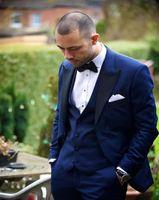 winter brautkleid wolle großhandel-Gut aussehend Groomsmen Wollmischung Bräutigam Smoking Herren Hochzeitskleid Mann Anzüge Jacke Blazer Prom Dinner Tux (Jacke + Hose + Krawatte + Weste)