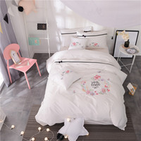 Wholesale twin size girl beds for sale - White embroidery Cute Bedding Set cotton Bed Sheet set Twin Queen King size Girls Duvet Cover Bed cover set Jogo de Cama