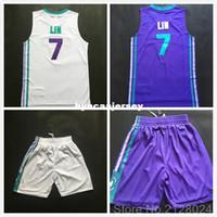 sarkık beyaz mayo toptan satış-2015-2016 Yeni Ucuz # 7 Jeremy Lin Jersey Mor Beyaz Teal Yeşil Dikişli Basketbol Formaları Boyutu S-XXL Ncaa