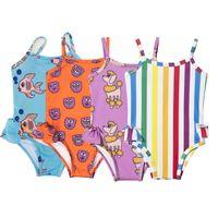 Wholesale rainbow swimsuit girls resale online - toddler baby girls swimwear hawaii girl swiming suits kids ins hot one piece cartoon print rainbow seaside swimsuits