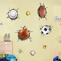 futbol çıkartmaları toptan satış-3D topları Bir sürü Kırık duvar sticker Futbol basketbol ev çıkartmaları pencere çıkartmalar boys odası oturma odası spor dekor duvar