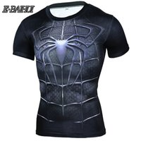 outdoor-trikots großhandel-E-BAIHUI T-Shirt Outdoor Laufshirt Herren Spiderman 3D T-Shirt Schnell Trockensport Trikots Sportbekleidung Herren Top Rashgard A-2493