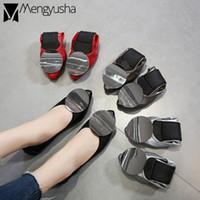 dobre sapatos baixos venda por atacado-Fivela rodada mulheres designer mocassins 43 sapatos de casamento vermelho macio bailarina coreano fold-up apartamentos de condução de luxo senhoras alpercatas