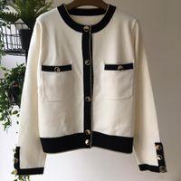 cardigans de las mujeres blancas al por mayor-Milan Runway 2019 blanco manga larga cardigans para mujer Diseñador botones logotipo suéteres para mujer