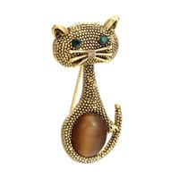 broches de gato do ouro venda por atacado-Vintage Olhos Verdes Gato Broche Corsage Antique Gold Opalas de Cor Broches Animais Para As Mulheres Crianças Pequenas Hijab Pinos Jóias