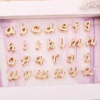 ingrosso scivoli di lettera-26 pz 10mm argento rosa tono oro lettera minuscola alfabeto charms perline scorrevole pendenti in metallo diy nome tag donne monili che fanno