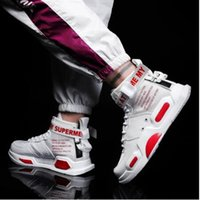 Wholesale red hip hop shoes resale online - 2019 autumn couple casual shoes high to help big boys casual hip hop thick soled shoes male students white casual shoes