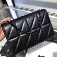 kara kutu kilitleri toptan satış-6808 Çanta Tasarımcısı koyun Deri Siyah zincir kilit kolye Hakiki Deri Çanta Tasarımcısı Omuz Çantaları Kutusu ile Gelmek 6808