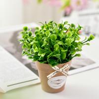 мини бонсай украшение оптовых-Artificial Flower Plant Peppermint Grass+Ceramic Small Pot Vase Mini Desktop Bonsai for Living Room Garden Decoration farmhouse