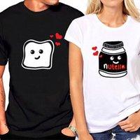 toast kleidung großhandel-Paar T-Shirt für Liebe mit kurzen Ärmeln lustige Grafik Toast und Nutella T-Shirt Frauen Streetwear paar Kleidung Frauen T-Shirt