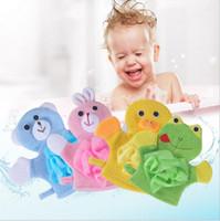 Wholesale child bath glove resale online - new Creative lovely children gloves bath brush bath ball rub zao artifact cartoon baby shower bath back rubber gloves