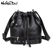 ingrosso borse di cuoio delle donne di stile del motociclo-NIGEDU Rock Style Borsa a tracolla donna Punk rivetto borse a tracolla PU Borse in pelle Designer femminile Secchiello per moto Totes nero