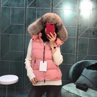 colete da senhora da raposa venda por atacado-2019 Senhoras Colete feminino Gilets Inverno Duck Down Colete Real Fox Fur Pena Weskit Jaqueta Casual Vest baixo jaqueta 752