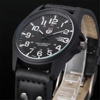 водостойкие серебряные часы оптовых-Vintage Classic Men's Waterproof Date Leather Strap Sport Quartz Army Watch  fashion casual silver black watches A40