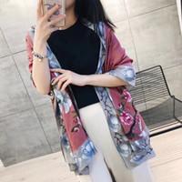 tartan schal koreanisch großhandel-Seidenschal Frühling und Herbst 2019 neue koreanische Frauen vielseitig drucken langen Schal Reiseschal langen Hals