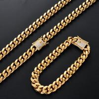 ingrosso collana di ottone della catena dei monili-Uomo Iced Out 10mm ottone CZ chiusura in acciaio inox cubano catena collana e bracciali gioielli hip hop CN085