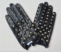 оригинальная перчатка оптовых-Женские зимние меховые изделия из натуральной кожи класса люкс с оригинальными модными перчатками Плюшевые теплые овчины Сексуальные симпатичные боксерские перчатки на половину пальцев с цепочкой