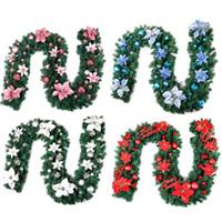 цветочные шарики для свадебных украшений оптовых-2.7 m Christmas rattan garland Artificial Flower Christmas Tree Hanging Ornament Xmas Ball Decoration Around Hanging Flower Vine