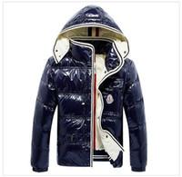 erkek kürk yakalı ceketler toptan satış-SıCAK Marka Erkekler Rahat parlak Aşağı Ceket Aşağı Palto Erkek açık Kürk Yaka Sıcak Adam Kış Kalın sıcak Coat dış giyim ceket parkas