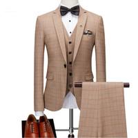 официальные брюки для мужчин оптовых-Fashion Mens Suits 3 Pieces Prom Wedding Dress Formal Slim Fit Plaid Men Suit Set Groom Tuxedo 2018 (Jacket+Pants+Vest) terno