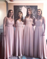 Wholesale silver beads online - 2019 V Neck Chiffon Long Bridesmaid Dresses Pink Lace Top Ruched Beaded Sash Floor Length Wedding Guest Maid Of Honor Dresses BM0734