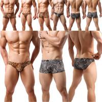 homens leopardo impressão breve venda por atacado-dos homens da cópia do leopardo Tarzan Breve Underwear Shorts Cuecas de alças Vest melhor qualidade