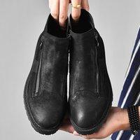 çizme astarı toptan satış-Sıcak Satış-Erkekler Fotwear Tam Tahıl Deri Çizme Erkekler İş Siyah ayakkabı Kış Peluş Boot Ile Zip Yumuşak Microfleece Astar Için Eklenen Sıcaklık