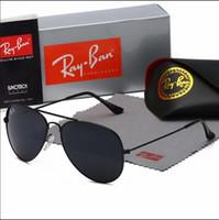 lunettes d'aviateur pour les femmes achat en gros de-Lunettes de soleil de luxe Aviator Ray Vintage Pilot Brand Band UV400 Protection interdit aux femmes Hommes Hommes Femmes Ben wayfarer lunettes avec boîte 026