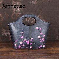 Wholesale large floral painting for sale - Group buy Johnature Genuine Leather Hand Painted Women Bag Luxury Handbags New Large Capacity Floral Cowhide Shoulder Crossbody Bags