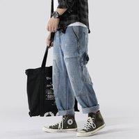 mann cargo jeans hose großhandel-Frühjahr und Sommer neue Herren Workwear Hosen Mode große Tasche Nähen Herren Jeans Hosen