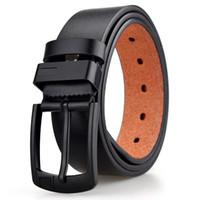 ceintures pour hommes de marque de luxe achat en gros de-2018 New chaud PU cuir hommes ceinture noire broche boucle ceintures pour hommes designer célèbre courroie mâle de luxe ceinture