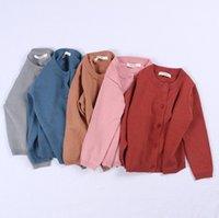 casacos para meninas venda por atacado-DHL 2-6 Anos crianças suéteres cardigan INS Outono Primavera algodão crianças camisola doce cor cardigan meninos meninas cardigan crianças outwear