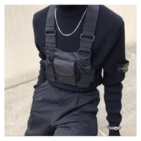 ingrosso sacchetto di vita nera di nylon-Borsa tattica nera Borsa per imbracatura Borsa da petto in nylon da uomo Hip Hop Streetwear Funzionale Boy Petto Rig Kanye West Wist Pack Marsupio tattico