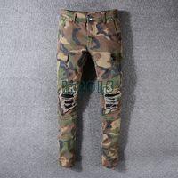 camouflage hosen männer schlank großhandel-Amerikanische Streetwear Mode Herren Robin Jeans Camouflage Military Hosen Große Tasche Cargo Pants hombre Slim Hip Hop Zerrissene Jeans Für Männer
