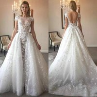 Wholesale champagne vintage lace mermaid wedding dress online - New Style Gorgeous Jewel Mermaid Illusion Sheath Lace Applique Detachable Train Glamorous Sexy Custom Made Wedding Dresses Wedding Gown D102