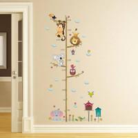 décor de chambre de lion achat en gros de-Animaux de Bande Dessinée Lion Singe Hibou Éléphant Hauteur Mesure Sticker Mural Pour Enfants Chambres Croissance Graphique Nursery Room Decor Art