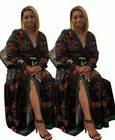 heiße lange nachtkleider großhandel-Frauen Casual Kleider Nachtclub Röcke Party Langarm Schärpen Strickjacke Fashion Print Designer Bekleidung Herbst HEIßER Verkauf 1065