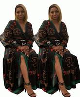 uzun etek hırka toptan satış-Kadınlar Günlük Elbiseler Gece Kulübü Etekler Parti Uzun Kollu Sashes Hırka Moda Baskı Tasarımcı Giyim Güz SıCAK Satış 1065
