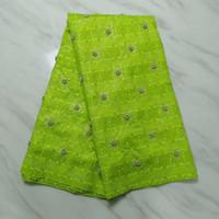 venta de cuentas africanas al por mayor-5 yardas / pc Venta caliente verde limón tela de encaje bazin con cuentas y rhinestone tela de algodón brocado africano para el vestido de fiesta BZ27-8