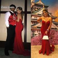 Wholesale sexy wedding party dresses for sale - 2019 Sweetheart Backless Red Satin With Sweep Mermaid Prom Dress High end Customed Made Vestidos De Novia Party Gown